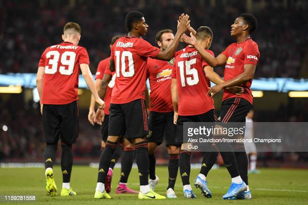 Marcus Rashford of Manchester United celebrates scoring a goal to make the score 10 during the 2019 International Champions Cup match between...