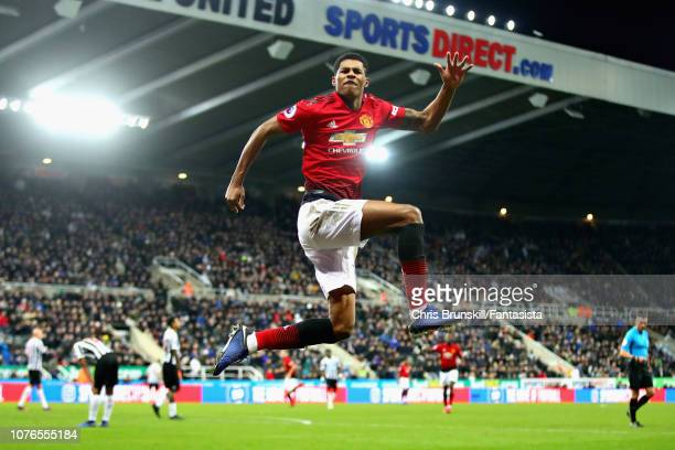 Marcus Rashford of Manchester United celebrates scoring his sides second goal during the Premier League match between Newcastle United and Manchester...