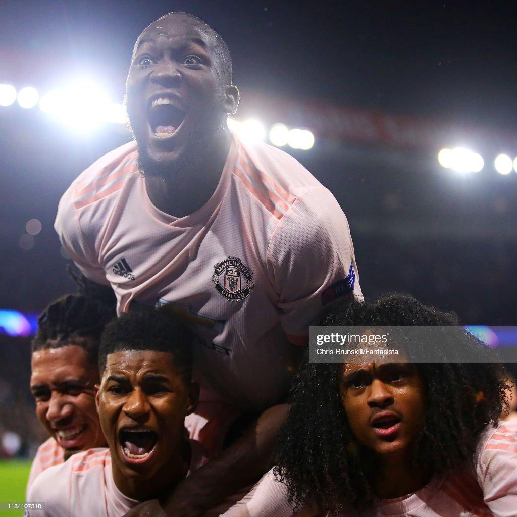 Uefa Champions League Round Of: Marcus Rashford Of Manchester United Celebrates Scoring
