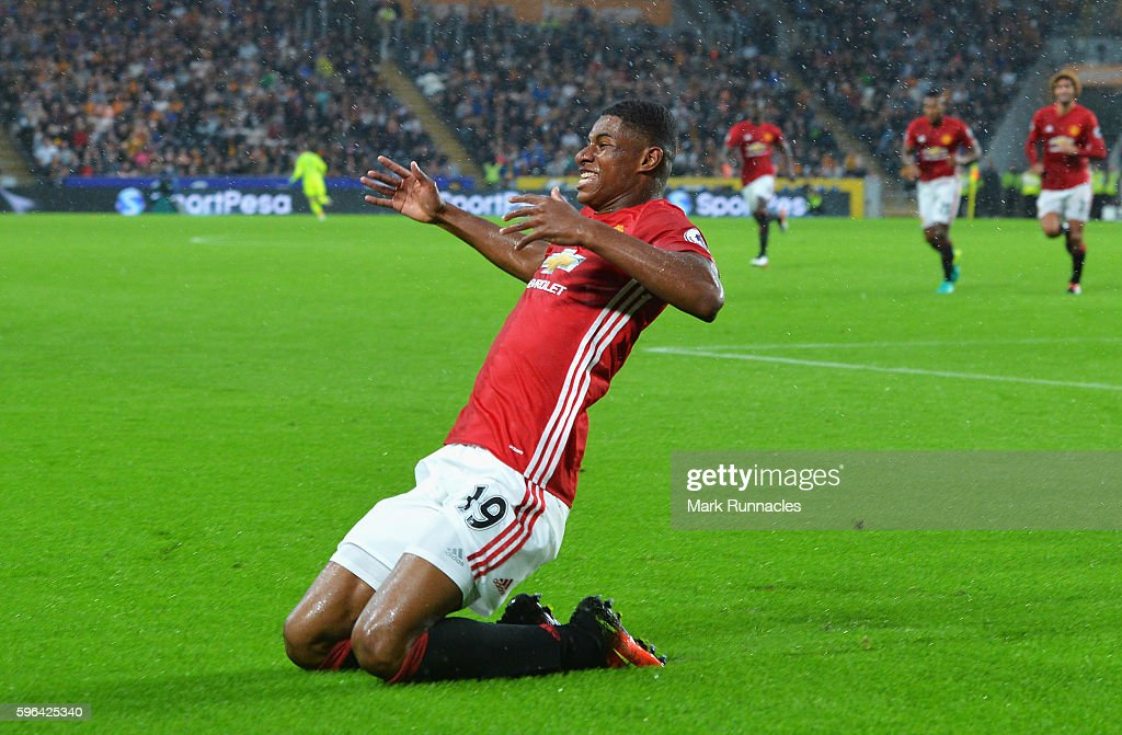 Marcus Rashford of Manchester United celebrates scoring his sides first goal during the Premier League match between Hull City and Manchester United at KCOM Stadium on August 27, 2016 in Hull, England.