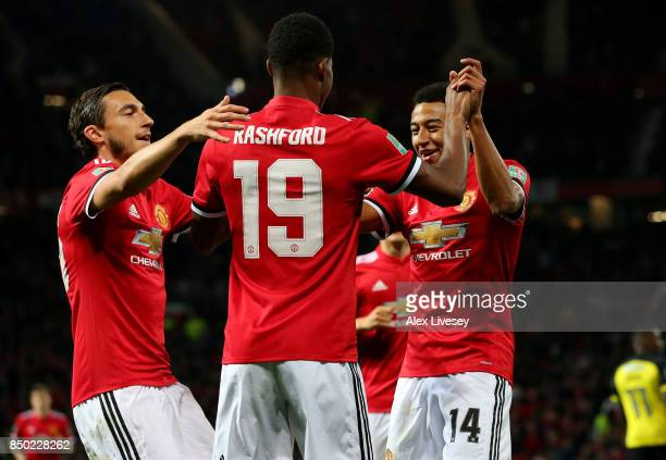 Marcus Rashford of Manchester United celebrates scoring his sides first goal with Jesse Lingard of Manchester United and Matteo Darmian of Manchester...