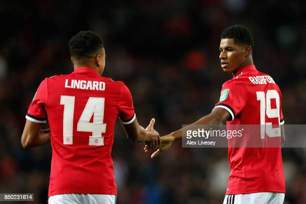 Marcus Rashford of Manchester United celebrates scoring his sides first goal with Jesse Lingard of Manchester United during the Carabao Cup Third...
