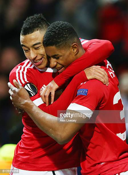 Marcus Rashford of Manchester United celebrates scoring his team's second goal with his team mate Jesse Lingard during the UEFA Europa League Round...