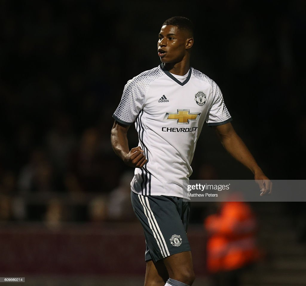 Marcus Rashford of Manchester United celebrates scoring his team's third goal during the EFL Cup Third Round match between Northampton Town and Manchester United at Sixfields on September 21, 2016 in Northampton, England.
