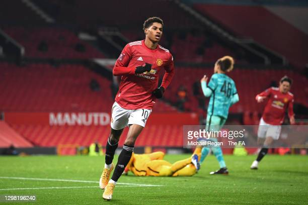 Marcus Rashford of Manchester United celebrates scoring the 2nd Man United goal during The Emirates FA Cup Fourth Round match between Manchester...