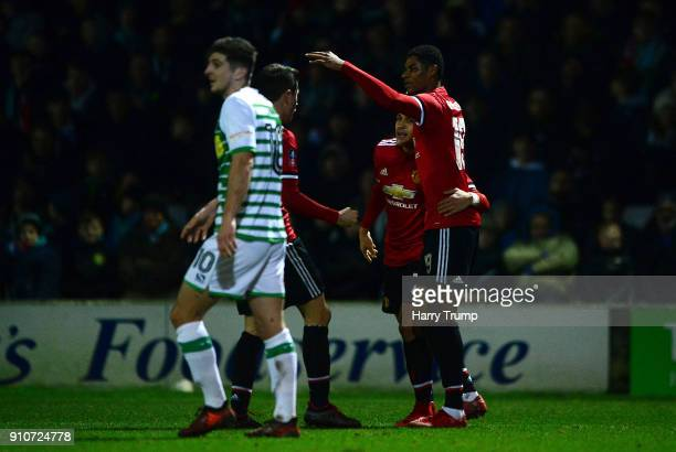 Marcus Rashford of Manchester United celebrates scoring the first goal during The Emirates FA Cup Fourth Round match between Yeovil Town and...