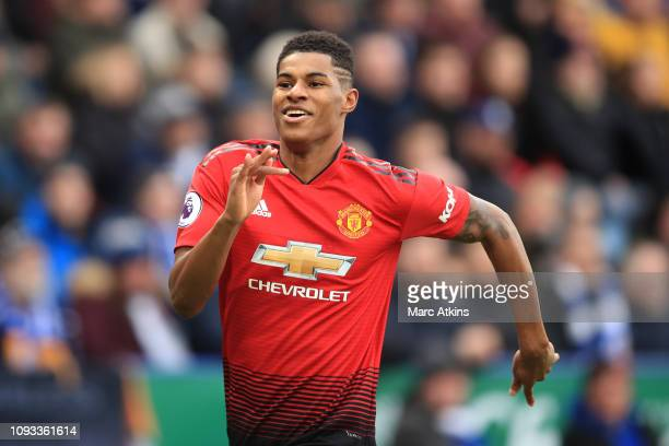 Marcus Rashford of Manchester United celebrates scoring their 1st goal during the Premier League match between Leicester City and Manchester United...