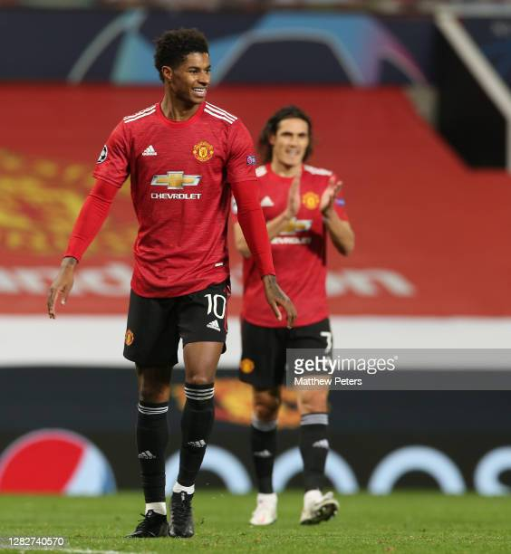 Marcus Rashford of Manchester United celebrates scoring their fifth goal during the UEFA Champions League Group H stage match between Manchester...