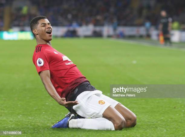 Marcus Rashford of Manchester United celebrates scoring their first goal during the Premier League match between Cardiff City and Manchester United...