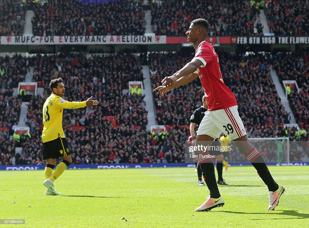 Marcus Rashford of Manchester United celebrates scoring their first goal during the Barclays Premier League match between Manchester United and Aston Villa at Old Trafford on April 16, 2016 in Manchester, United Kingdom.