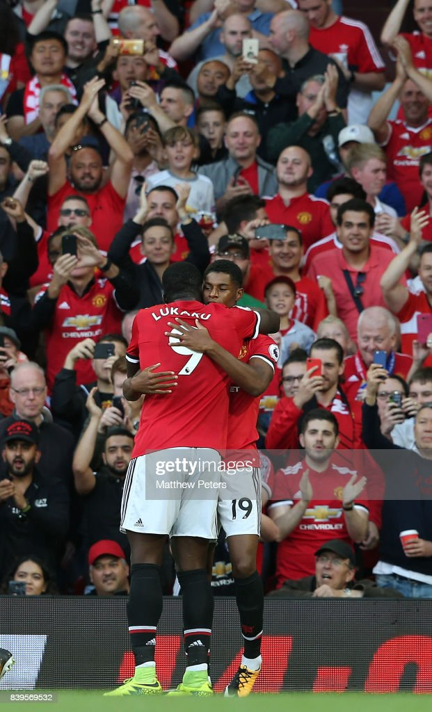 Marcus Rashford of Manchester United celebrates scoring their first goal during the Premier League match between Manchester United and Leicester City at Old Trafford on August 26, 2017 in Manchester, England.