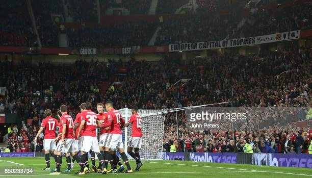 Marcus Rashford of Manchester United celebrates scoring their first goal during the Carabao Cup Third Round match between Manchester United and...