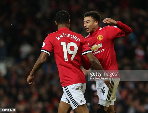 Marcus Rashford of Manchester United celebrates scoring their first goal during the Premier League match between Manchester United and Manchester...