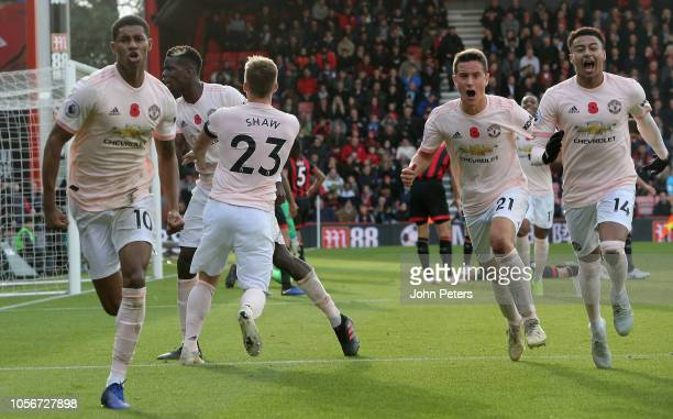 Marcus Rashford of Manchester United celebrates scoring their second goal during the Premier League match between AFC Bournemouth and Manchester...