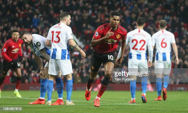 Marcus Rashford of Manchester United celebrates scoring their second goal during the Premier League match between Manchester United and Brighton Hove...