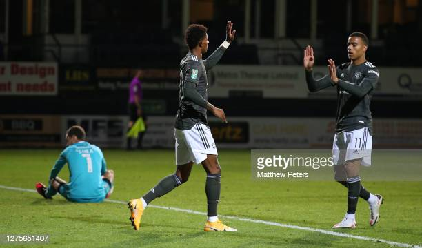 Marcus Rashford of Manchester United celebrates scoring their second goal during the Carabao Cup Third Round match between Luton Town and Manchester...