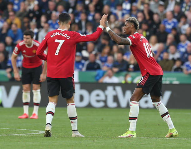 Marcus Rashford of Manchester United celebrates scoring their second goal during the Premier League match between Leicester City and Manchester...