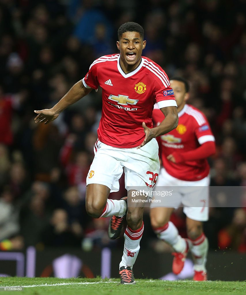 Marcus Rashford of Manchester United celebrates scoring their second goal during the UEFA Europa League match between Manchester United and FC Midtjylland at Old Trafford on February 25, 2016 in Manchester, United Kingdom.