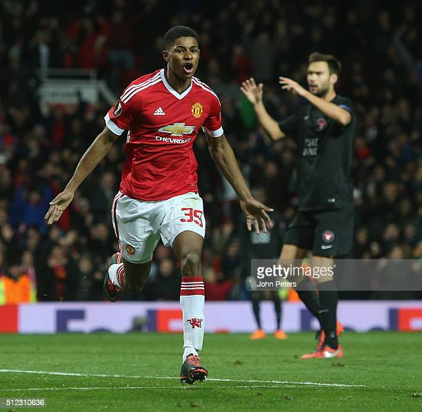 Marcus Rashford of Manchester United celebrates scoring their second goal during the UEFA Europa League match between Manchester United and FC...