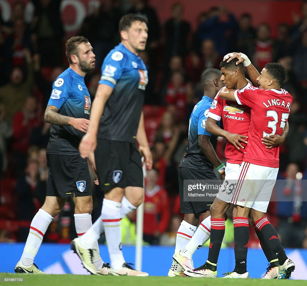 Marcus Rashford of Manchester United celebrates scoring their second goal during the Barclays Premier League match between Manchester United and AFC Bournemouth at Old Trafford on May 17, 2016 in Manchester, England.