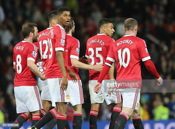 Marcus Rashford of Manchester United celebrates scoring their second goal during the Barclays Premier League match between Manchester United and AFC...