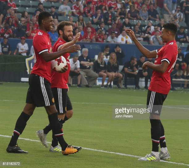Marcus Rashford of Manchester United celebrates scoring their second goal during the pre-season friendly match between LA Galaxy and Manchester...