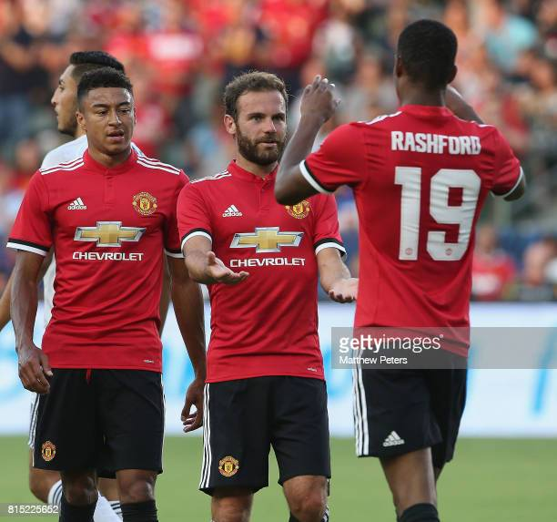 Marcus Rashford of Manchester United celebrates scoring their second goal during the preseason friendly match between LA Galaxy and Manchester United...