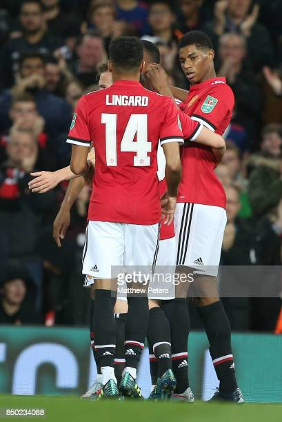 Marcus Rashford of Manchester United celebrates scoring their second goal during the Carabao Cup Third Round between Manchester United and Burton...