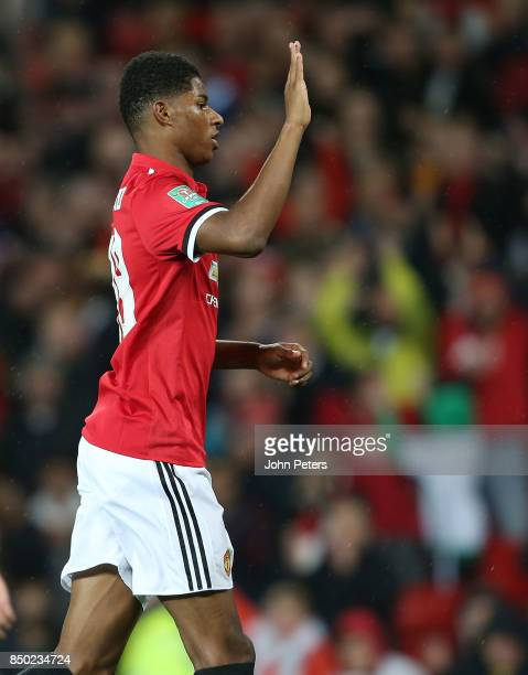 Marcus Rashford of Manchester United celebrates scoring their second goal during the Carabao Cup Third Round match between Manchester United and...