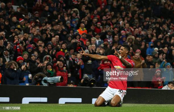 Marcus Rashford of Manchester United celebrates scoring their third goal during the UEFA Europa League group L match between Manchester United and...