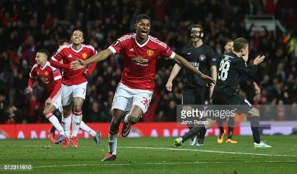 Marcus Rashford of Manchester United celebrates scoring their third goal during the UEFA Europa League match between Manchester United and FC...