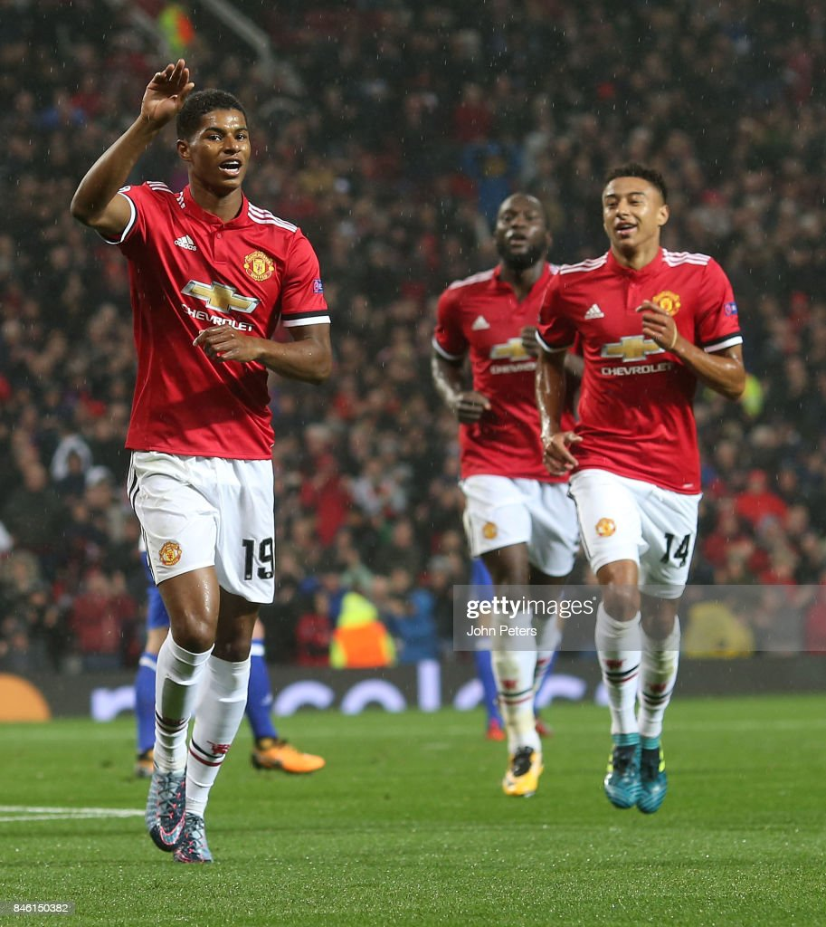 Marcus Rashford of Manchester United celebrates scoring their third goal during the UEFA Champions League group A match between Manchester United and FC Basel at Old Trafford on September 12, 2017 in Manchester, United Kingdom.
