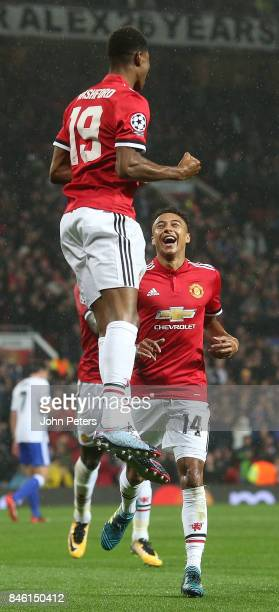Marcus Rashford of Manchester United celebrates scoring their third goal during the UEFA Champions League group A match between Manchester United and...
