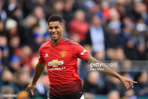 Marcus Rashford of Manchester United celebrates scoring their1 st goal during the Premier League match between Leicester City and Manchester United...