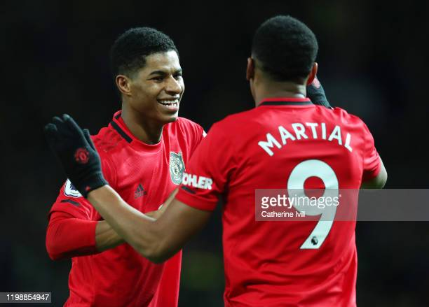 Marcus Rashford of Manchester United celebrates with Anthony Martial after scoring his team's second goal during the Premier League match between...
