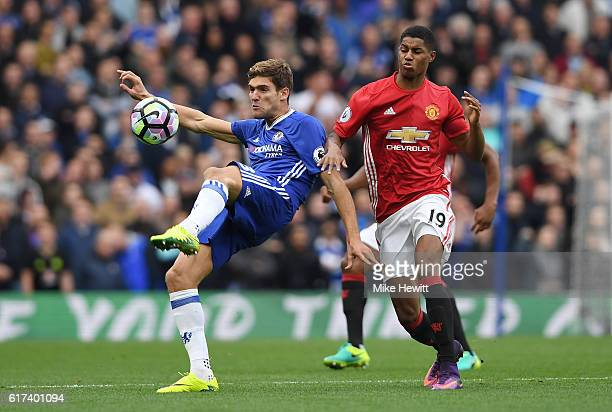 Marcus Rashford of Manchester United closes down Marcos Alonso of Chelsea during the Premier League match between Chelsea and Manchester United at...