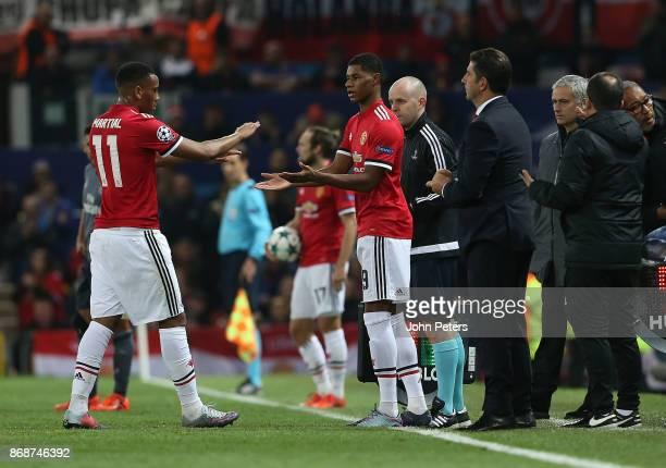 Marcus Rashford of Manchester United comes on as a substitute for Anthony Martial during the UEFA Champions League group A match between Manchester...