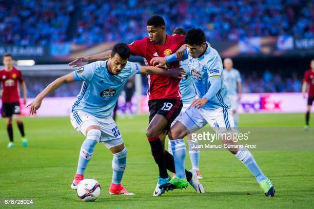 Marcus Rashford of Manchester United duels for the ball with Gustavo Cabral of RC Celta De Vigo during the Uefa Europa League semi final first leg...