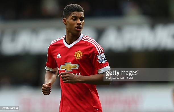 Marcus Rashford of Manchester United during the Barclays Premier League match between Tottenham Hotspur and Manchester United at White Hart Lane on...