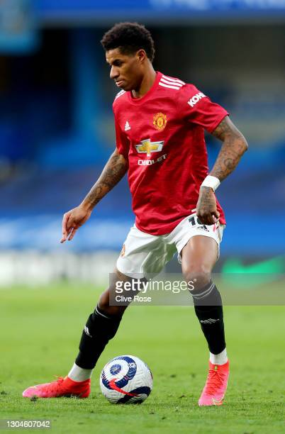 Marcus Rashford of Manchester United during the Premier League match between Chelsea and Manchester United at Stamford Bridge on February 28, 2021 in...