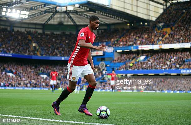 Marcus Rashford of Manchester United during the Premier League match between Chelsea and Manchester United at Stamford Bridge on October 23 2016 in...