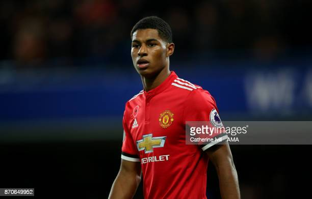Marcus Rashford of Manchester United during the Premier League match between Chelsea and Manchester United at Stamford Bridge on November 5 2017 in...
