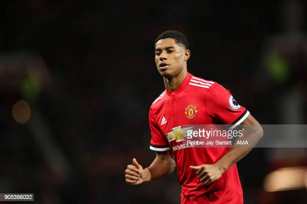 Marcus Rashford of Manchester United during the Premier League match between Manchester United and Stoke City at Old Trafford on January 15 2018 in...