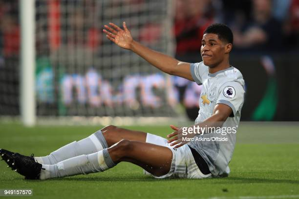 Marcus Rashford of Manchester United during the Premier League match between AFC Bournemouth and Manchester United at Vitality Stadium on April 18...