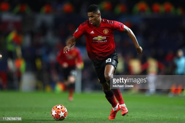 Marcus Rashford of Manchester United during the UEFA Champions League Round of 16 First Leg match between Manchester United and Paris SaintGermain at...