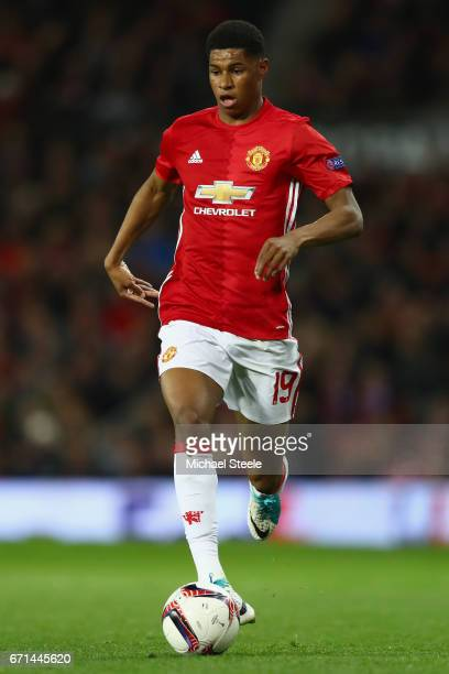 Marcus Rashford of Manchester United during the UEFA Europa League quarter final second leg match between Manchester United and RSC Anderlecht at Old...
