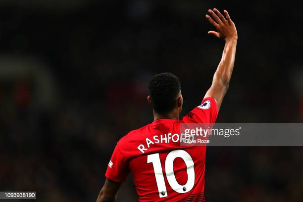 Marcus Rashford of Manchester United gestures during the Premier League match between Tottenham Hotspur and Manchester United at Wembley Stadium on...