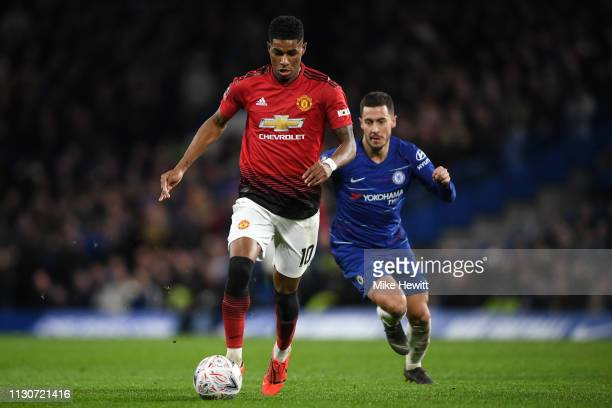 Marcus Rashford of Manchester United gets away from Eden Hazard of Chelsea during the FA Cup Fifth Round match between Chelsea and Manchester United...