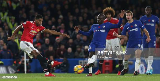 Marcus Rashford of Manchester United has a shot on goal during the Premier League match between Chelsea and Manchester United at Stamford Bridge on...