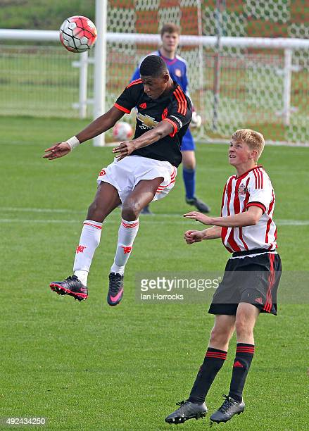 Marcus Rashford of Manchester United heads the ball during the U18 Premier League match between Sunderland and Manchester United at The Academy of...